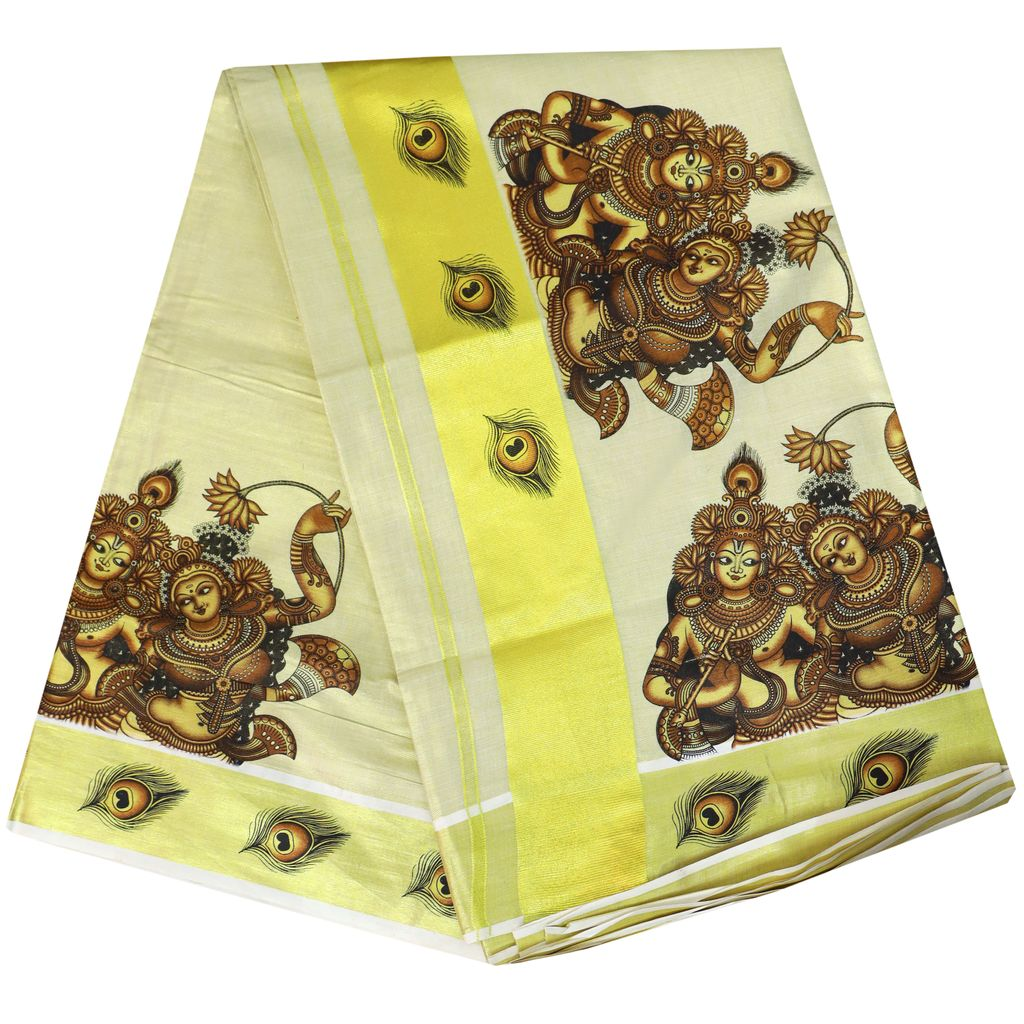 Tissue Saree With Mural Prints In Antique Shades