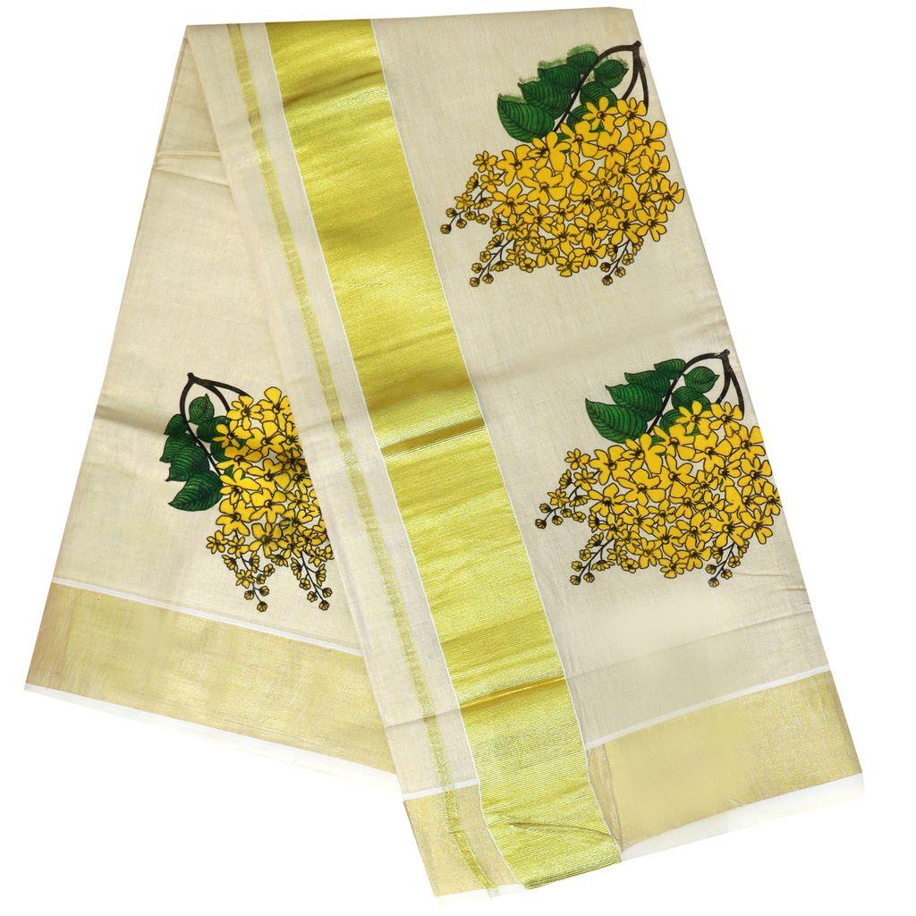Gold Tissue Saree With Kanikonna Print