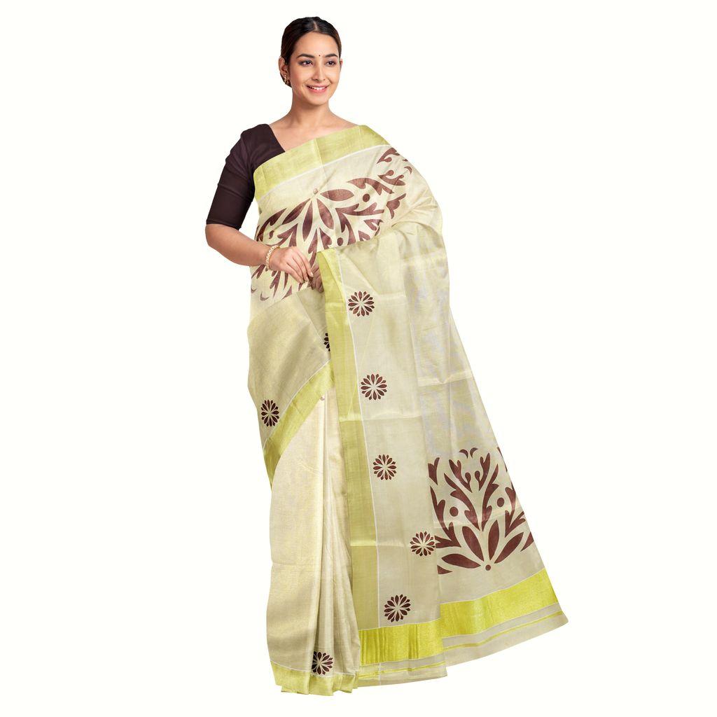Tissue Kasavu Saree With Abstract Floral Prints