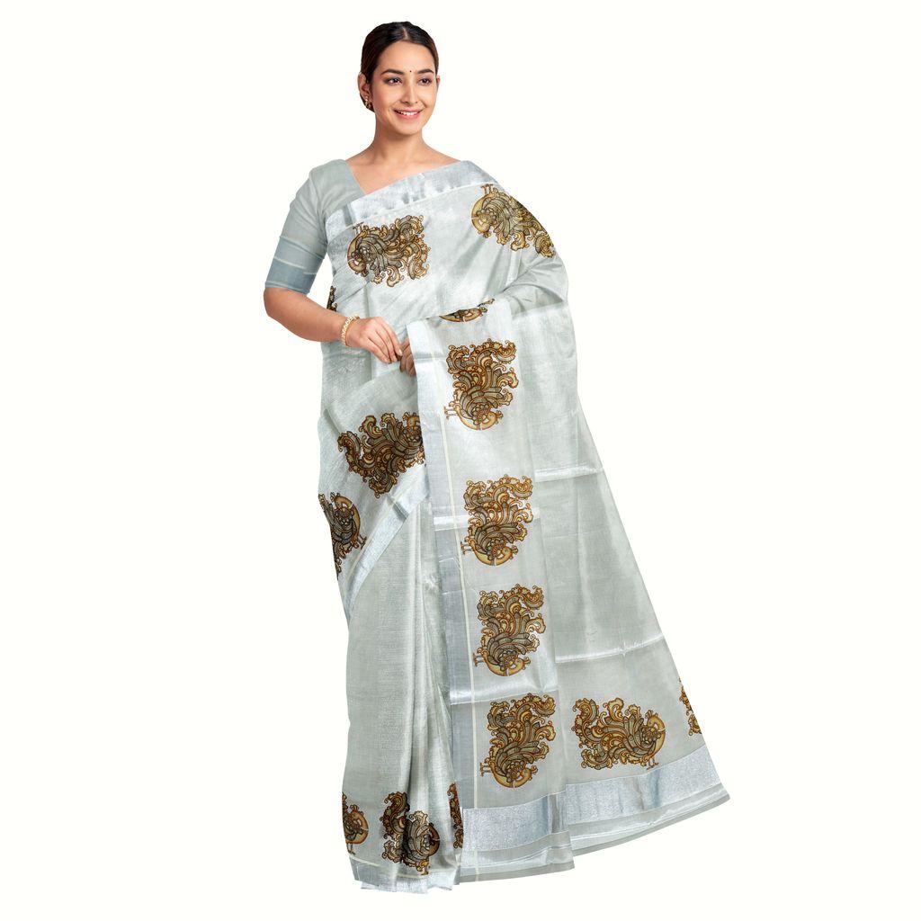 Silver Kasavu Saree With Mayoora Print In Antique Shades