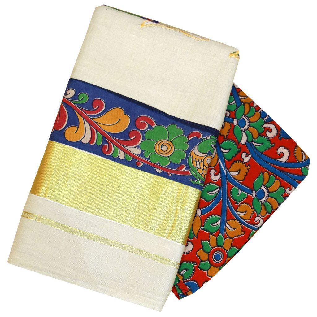 Kalamkari Print Patchworked Keral Kasavu Saree