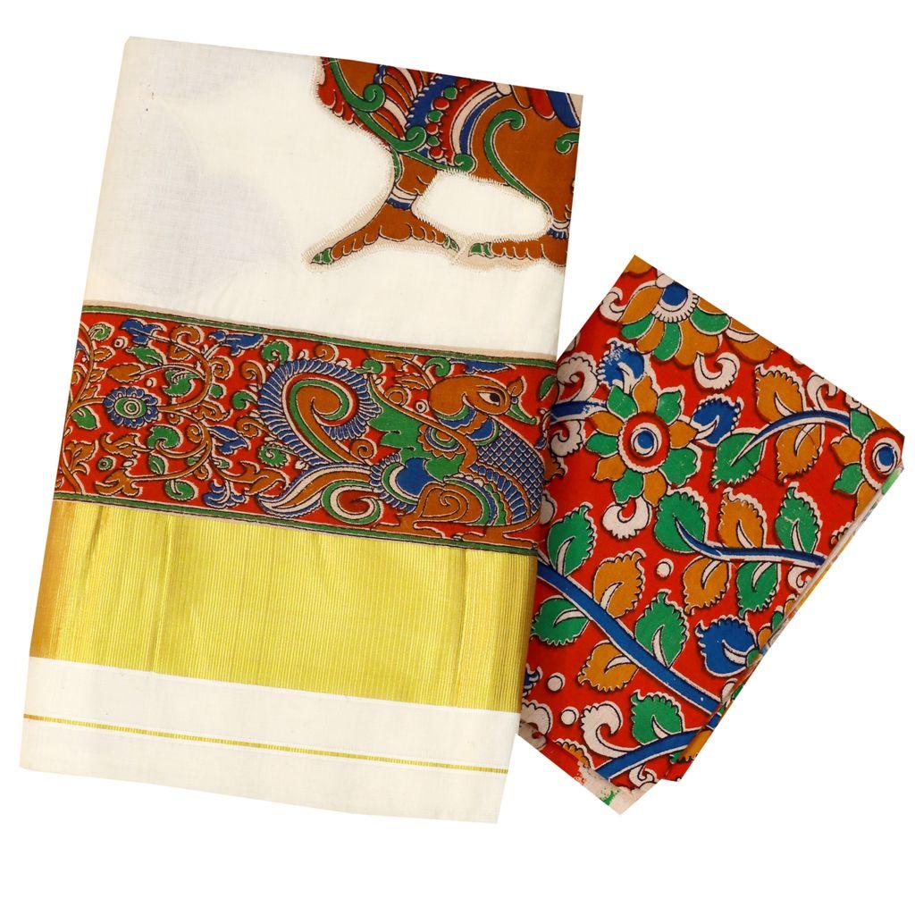 Kerala Kasavu Saree With Kalamkari Print Applique