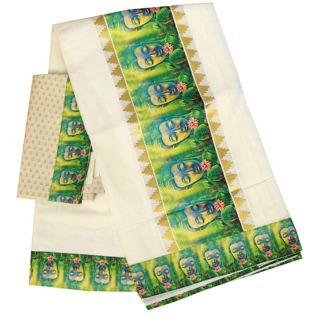 Kerala Kasavu Saree With Printed Patch Work