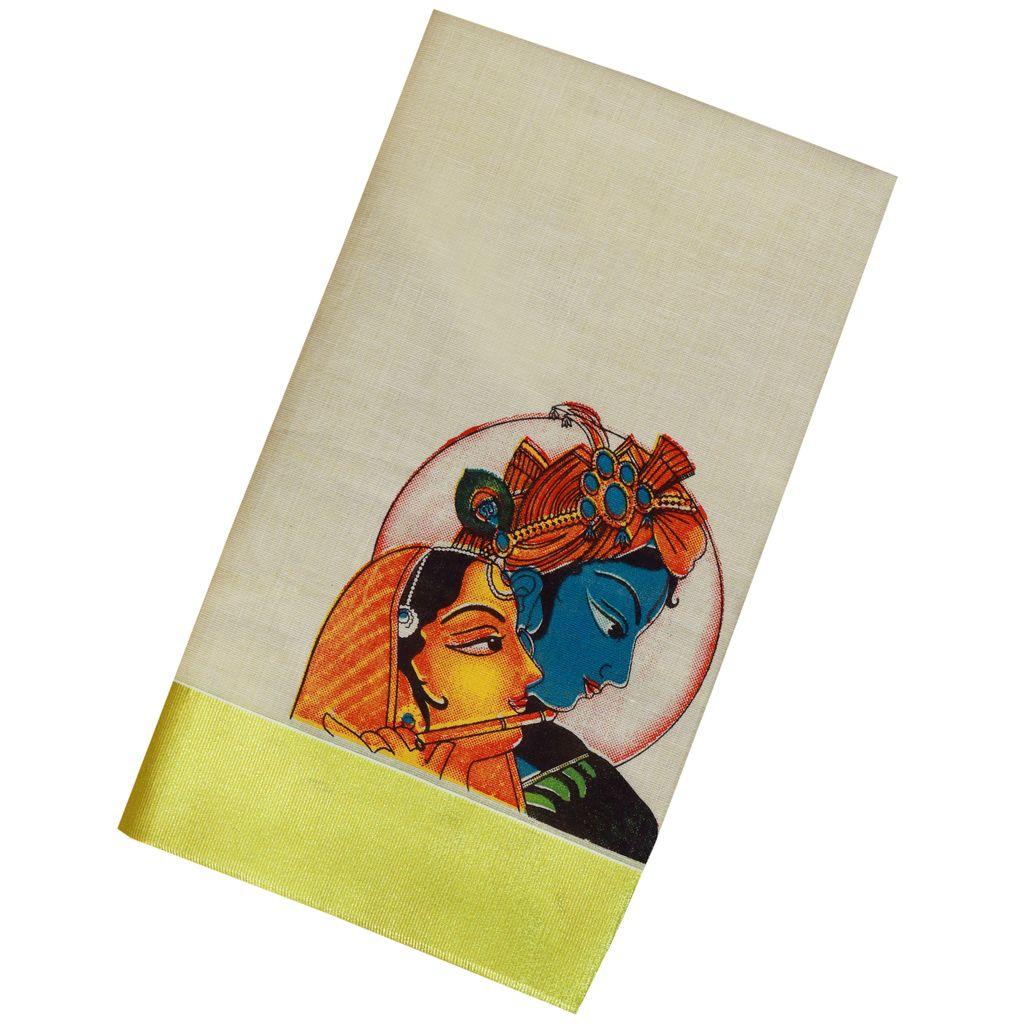 Radhe Krishna Mural Print Kerala Kasavu Saree