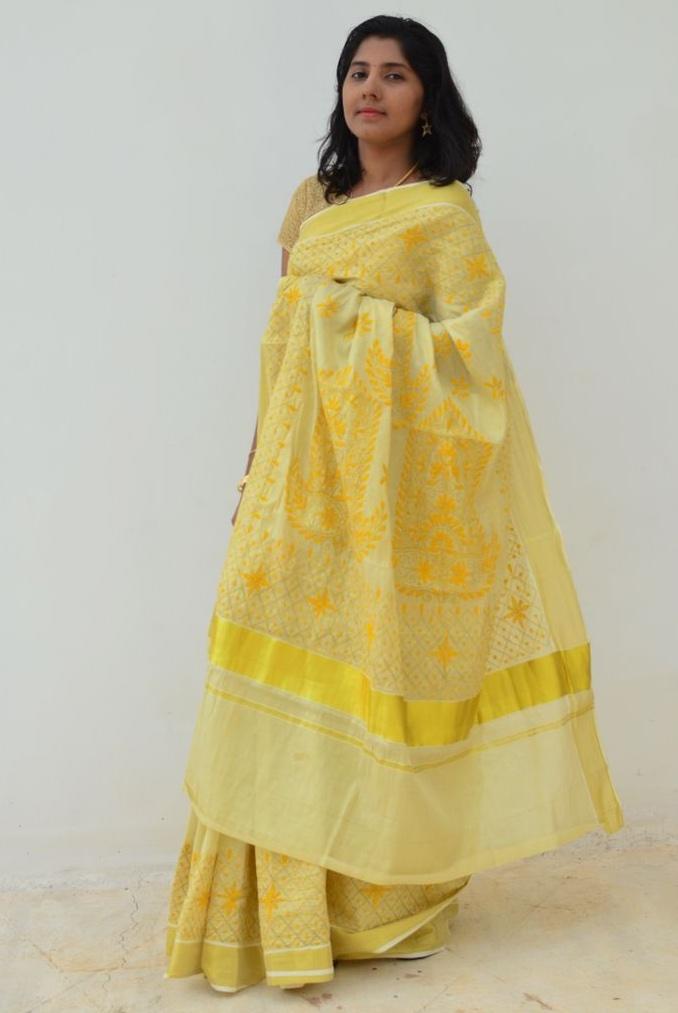 Kerala Kasavu Saree With Kantha Embroidery