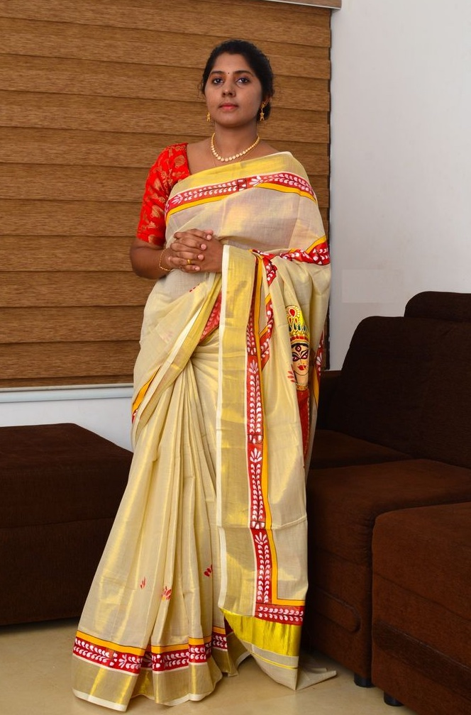 Durga Pattachitra Hand Painted Kerala Kasavu Saree