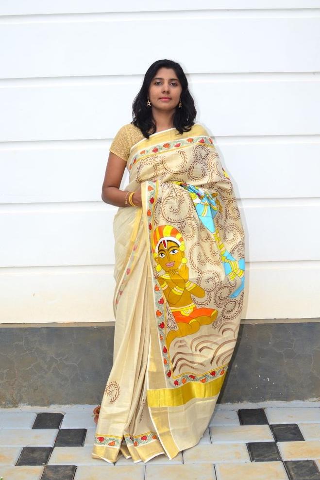 Pattachitra Hand Painted Kerala Kasavu Saree