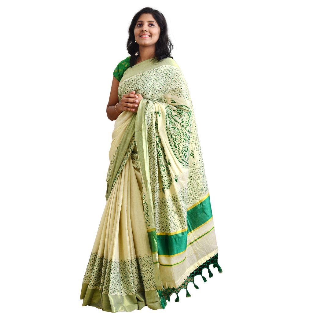 Kerala Tissue Saree With Kantha Embroidery