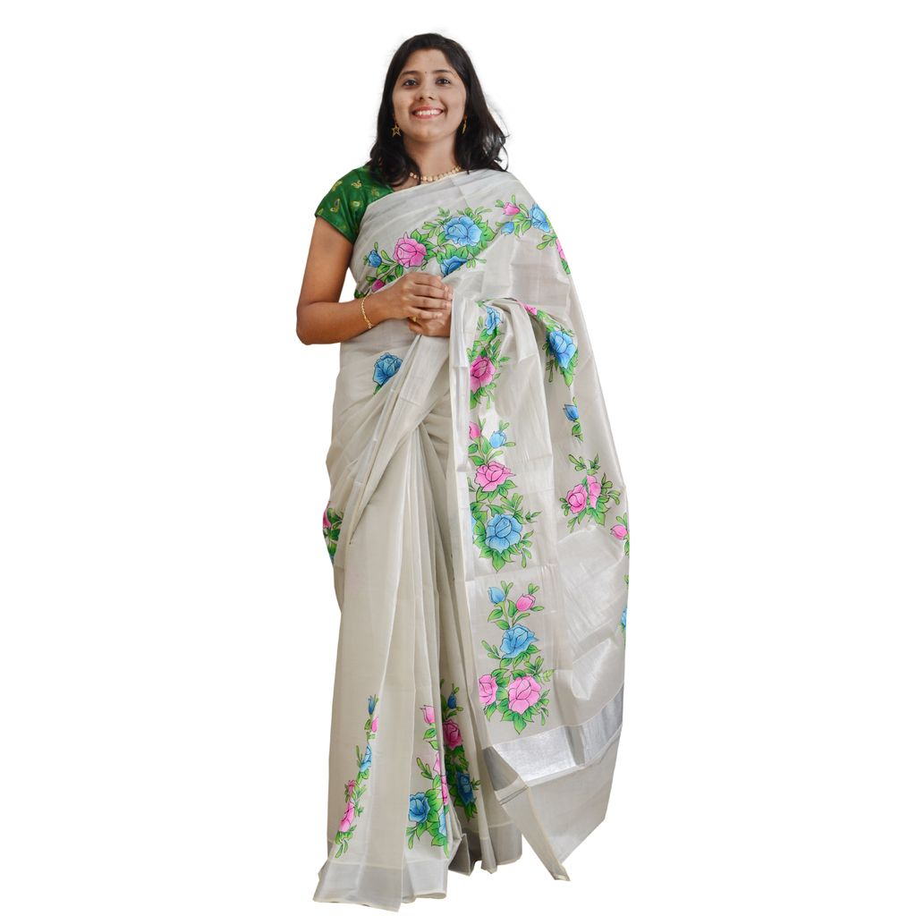 Silver Kasavu Saree With Hand Painted Floral Borders