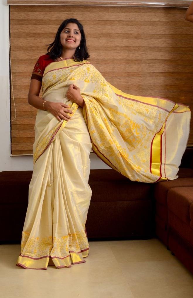 Kantha Handcrafted Kerala Kasavu Saree