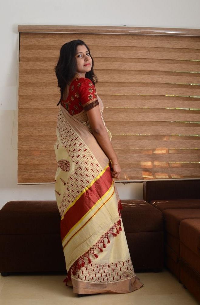 Kantha Hand Crafted Tissue Saree