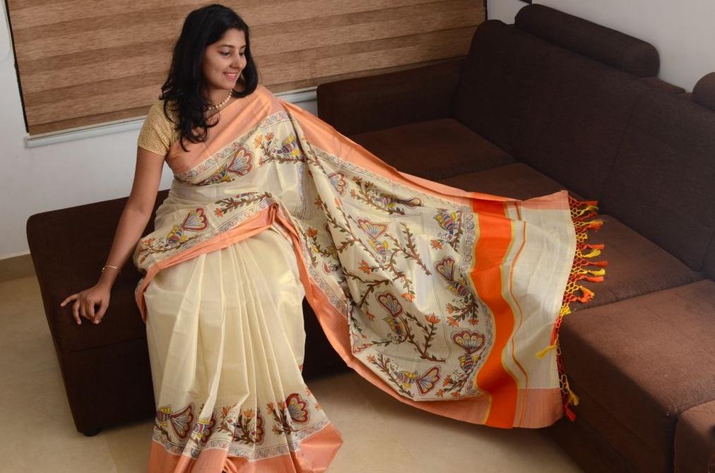 Madhubani Hand Painted Kerala Tissue Saree