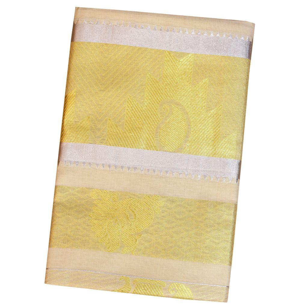Golden Tissue Saree With Temple Work