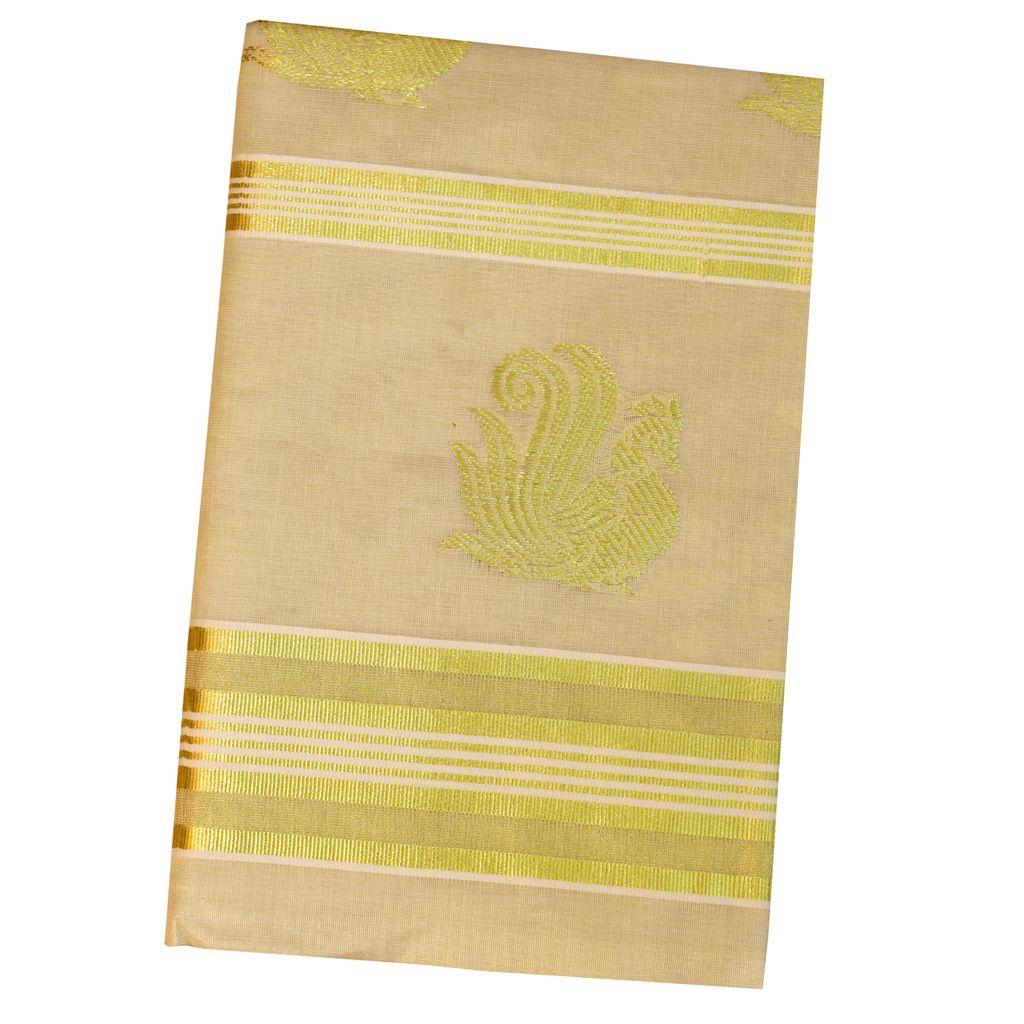 Golden Tissue Saree With Peacock Design