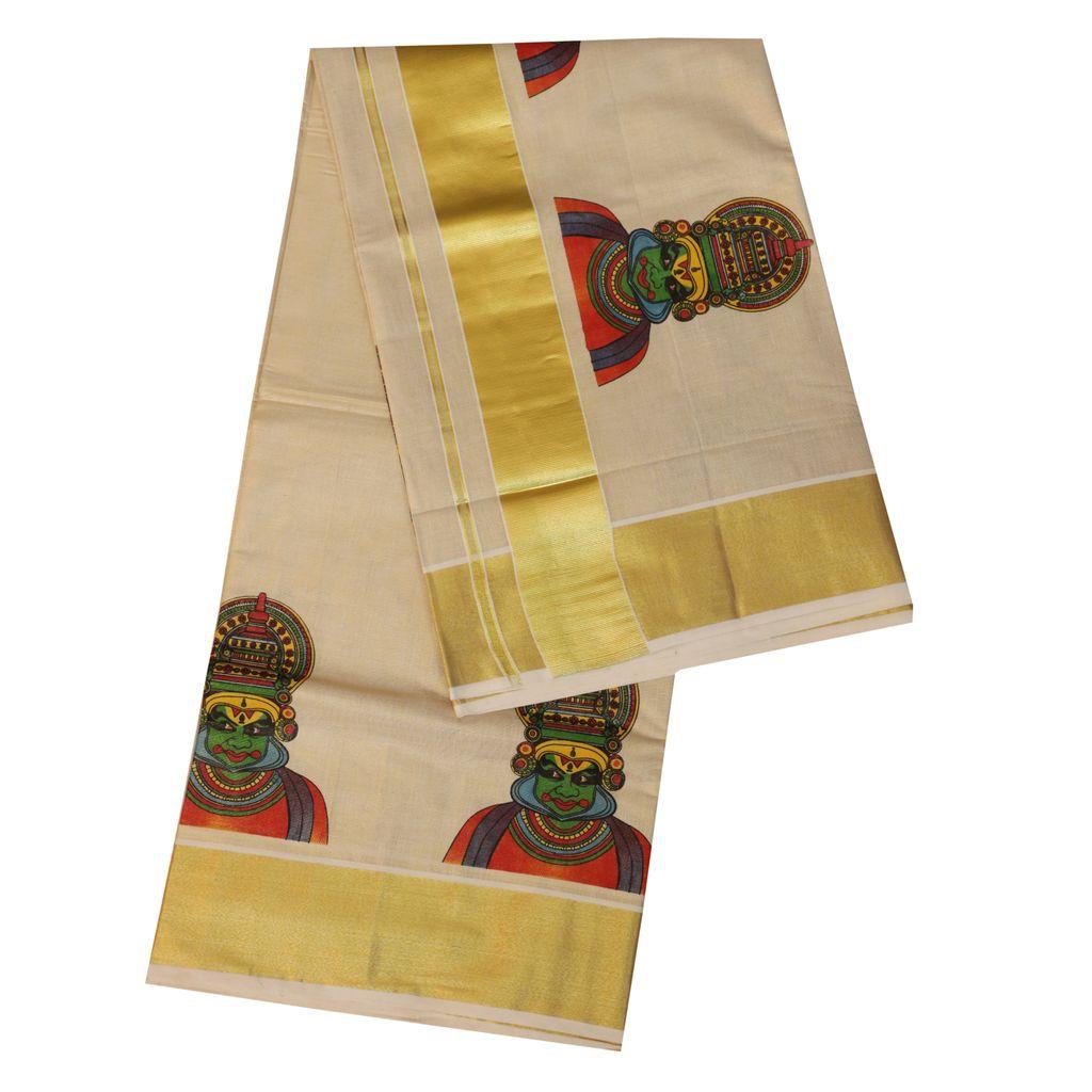Traditional Golden Tissue Kerala Saree With Kathakali Design