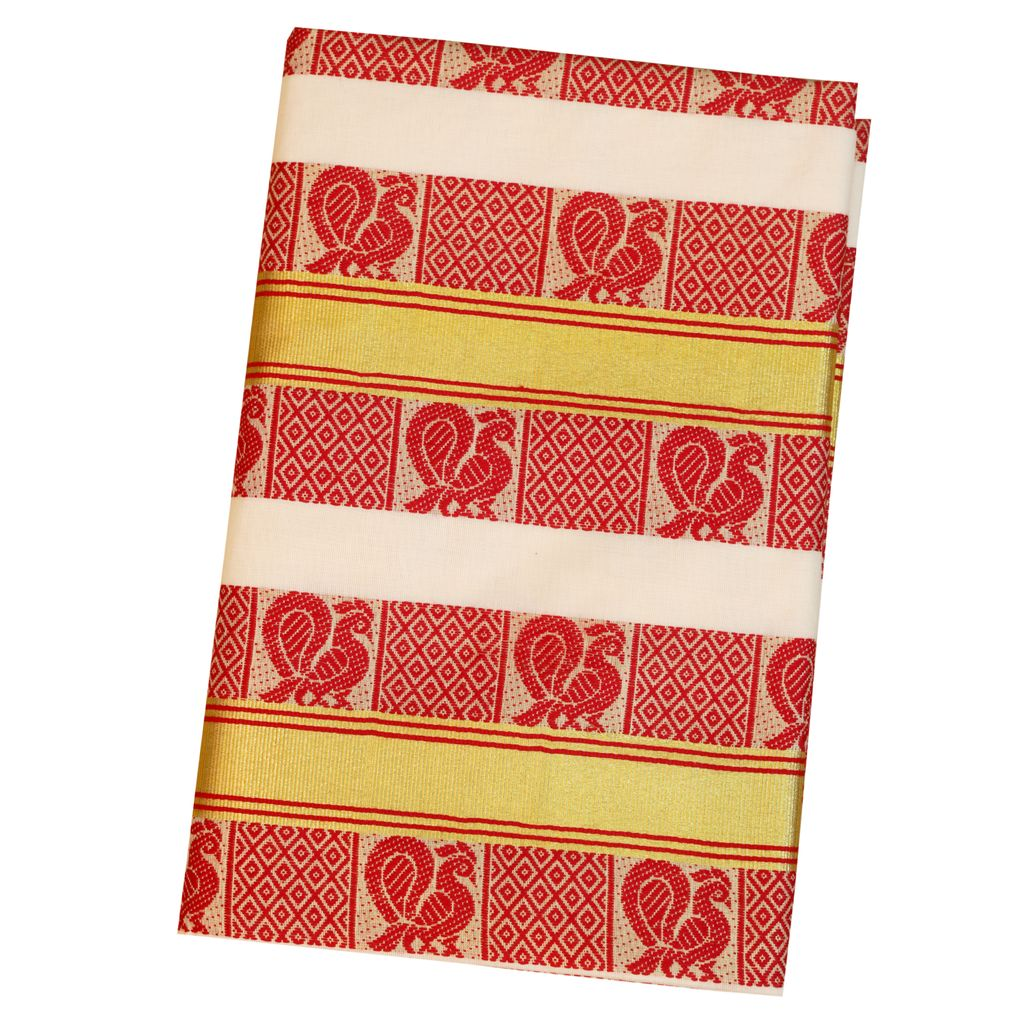 Traditional Kerala Saree With Gold And Red Design
