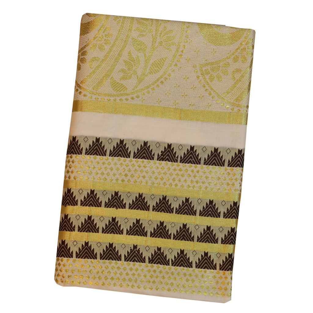 Traditional Kerala Saree With Temple Work