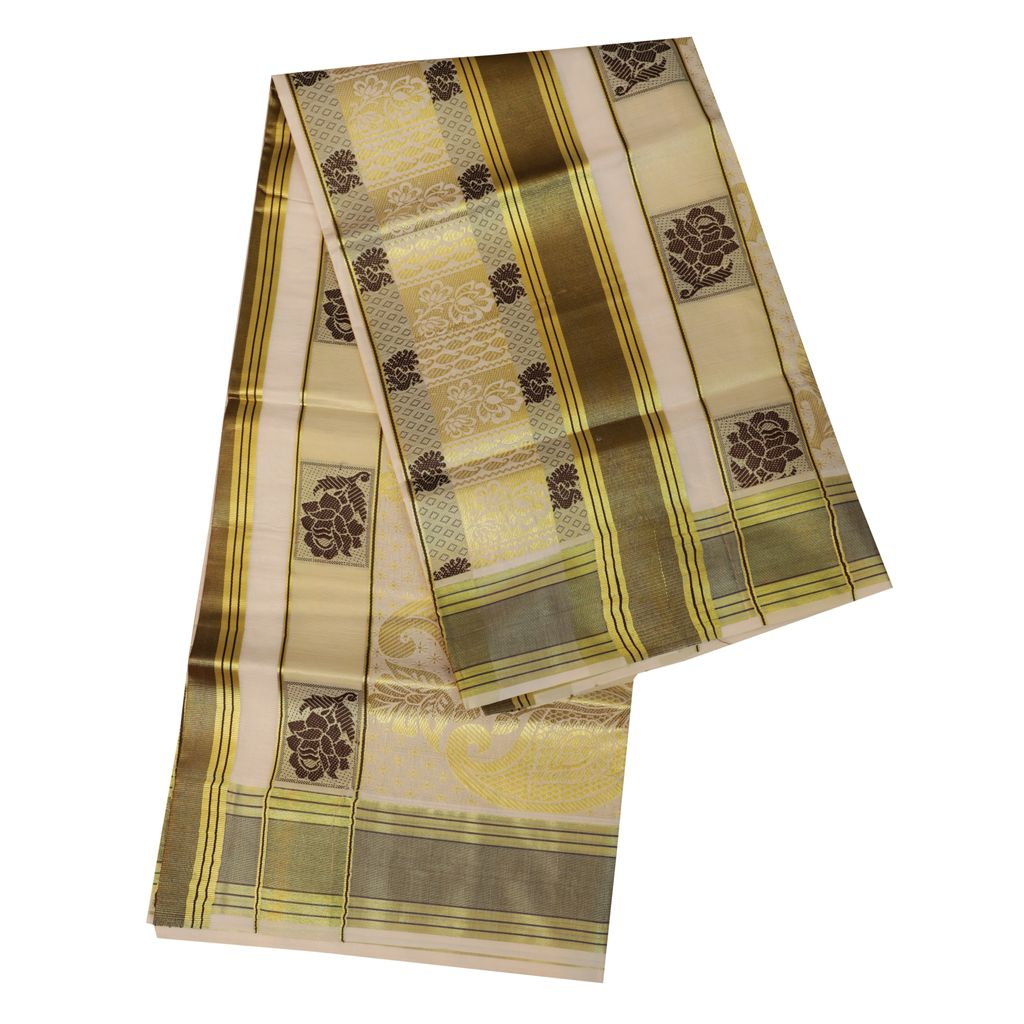 Traditional Kerala Saree With Golde And Black Design