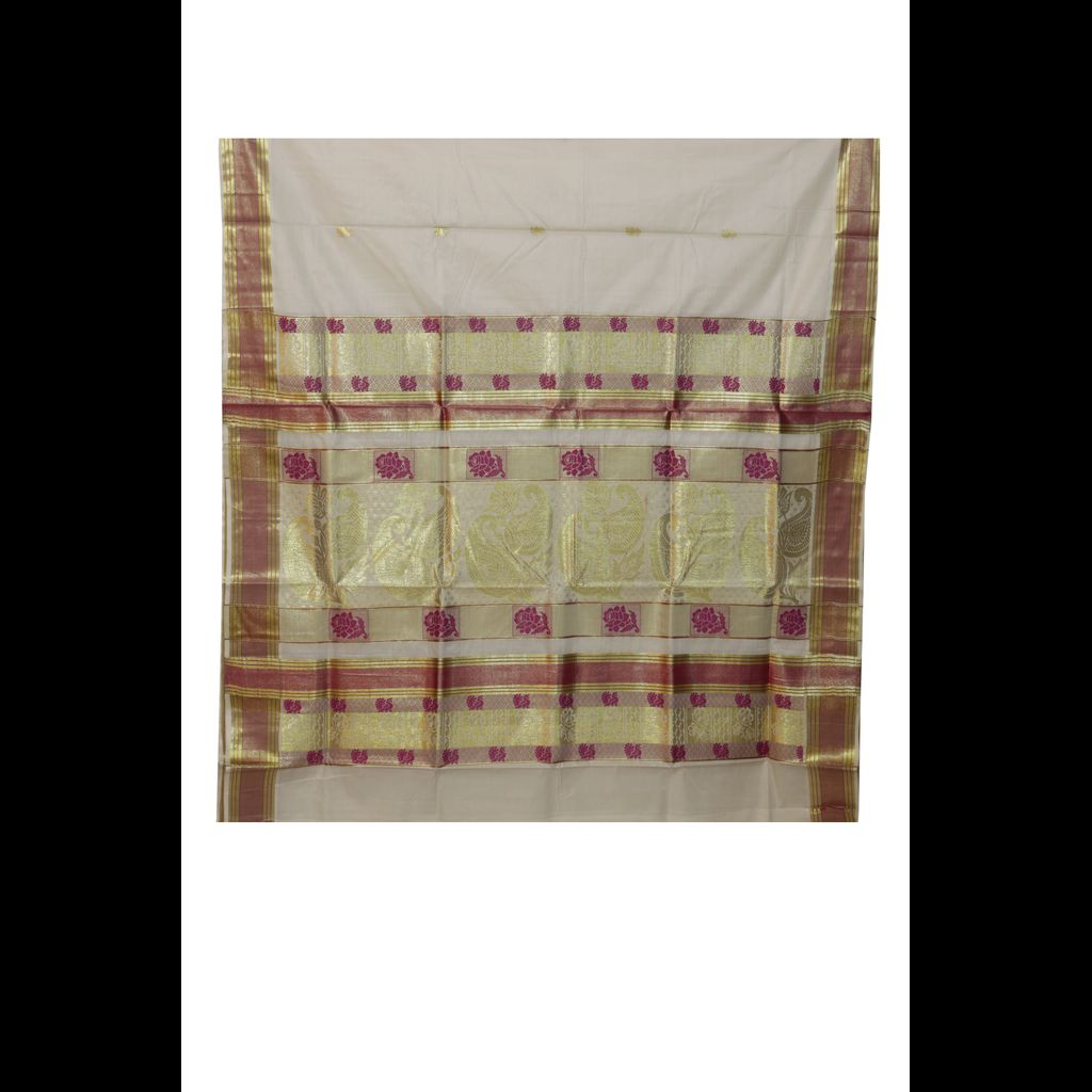 Traditional Kerala Saree With Golde And Purple Design