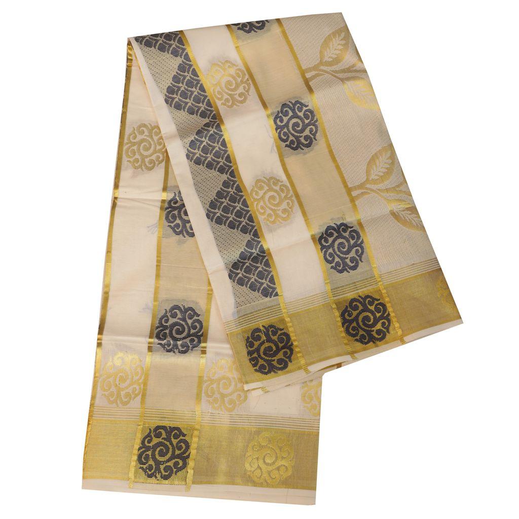 Kerala Saree With Blue And Golden Design