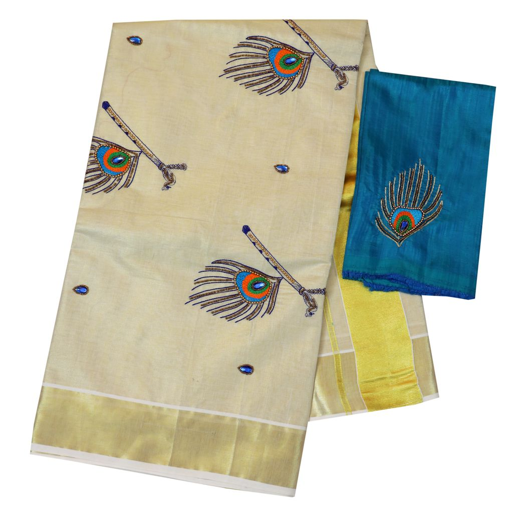 Kerala Traditional Wedding Saree With Peacock Embroidery