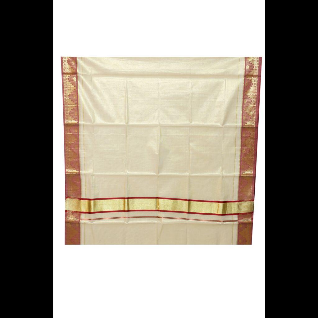 Traditional Golden Tissue Kerala Saree