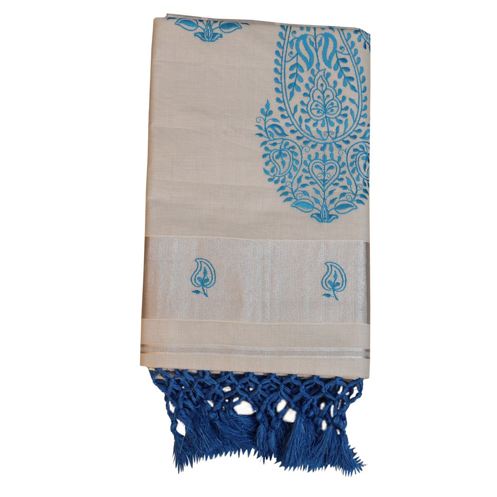 Silver Tissue Kerala Saree With Blue Tussel Work