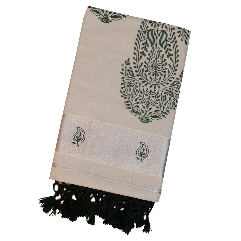 Silver Tissue Kerala Saree With Dark Green Tussel Work