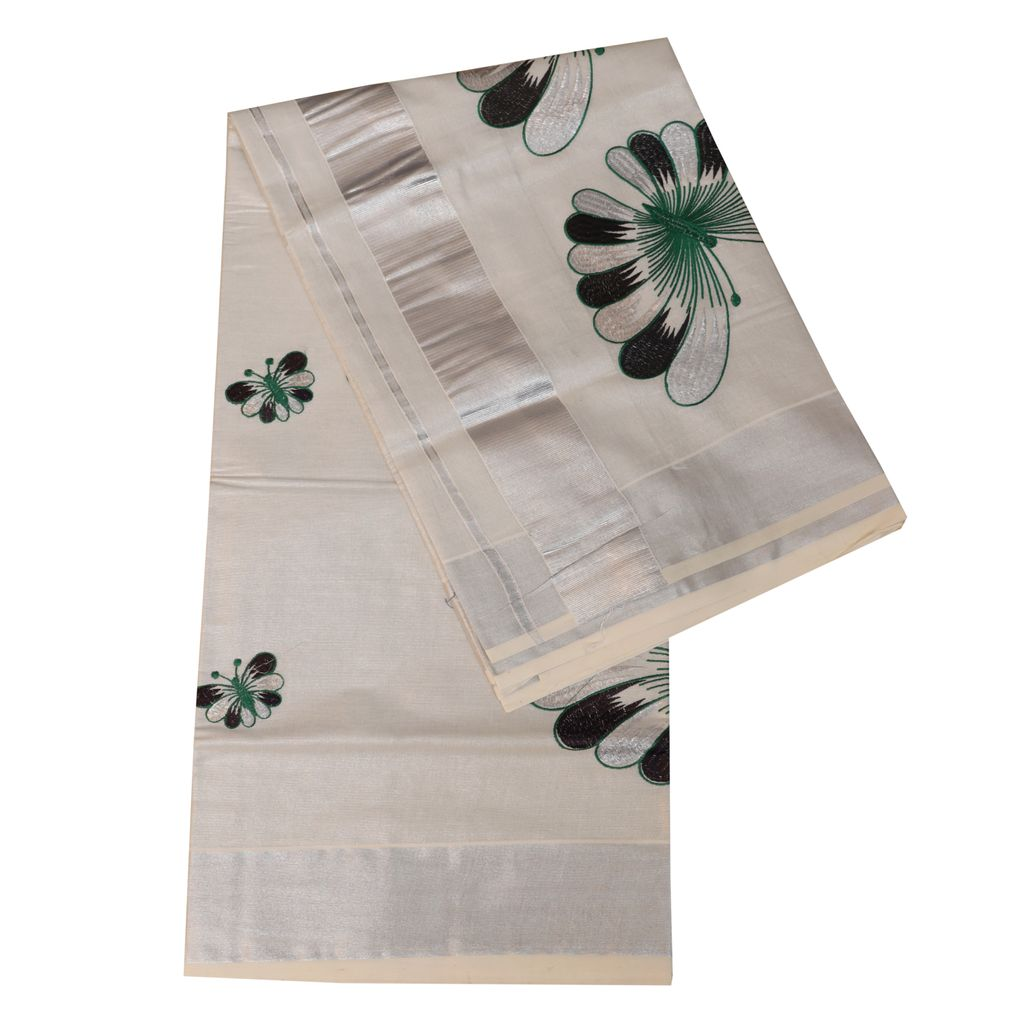 Silver Tissue Kerala Saree With Embroidery Work