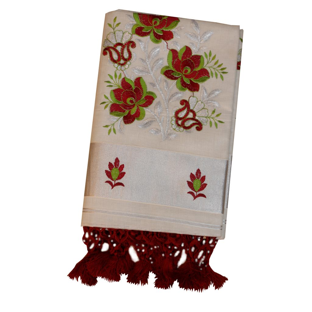 Silver Tissue Kerala Saree With Flower Design And Tussel Work