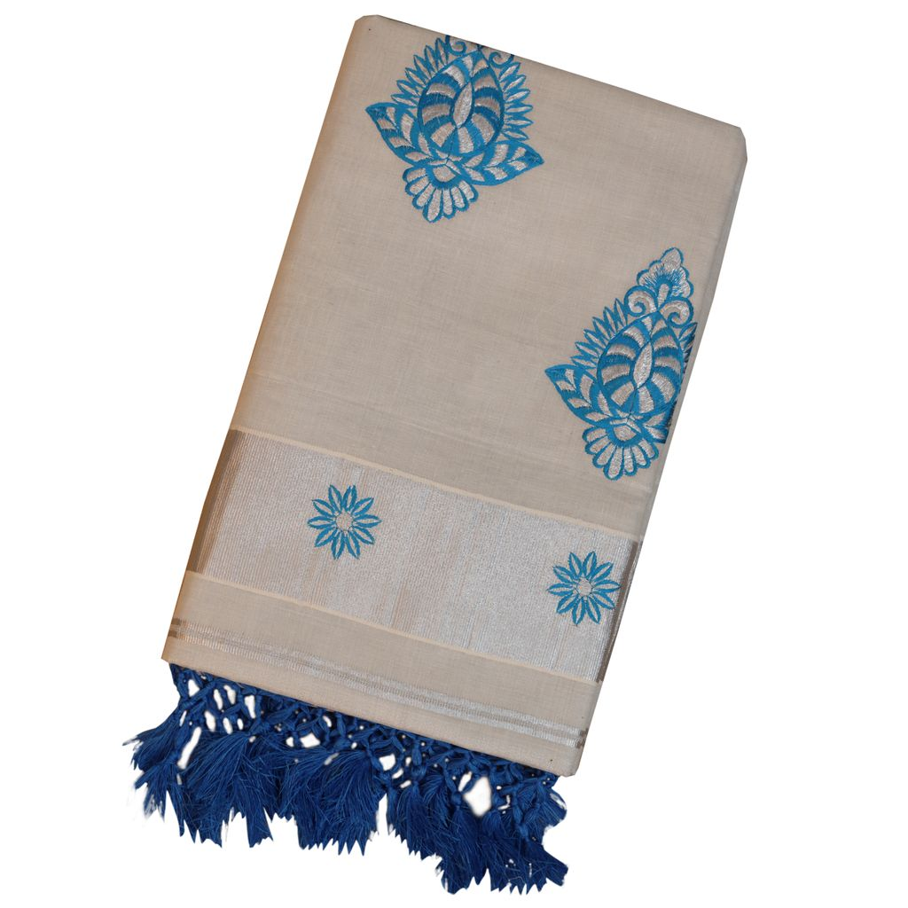 Silver Tissue Kerala Saree With Tussel Work