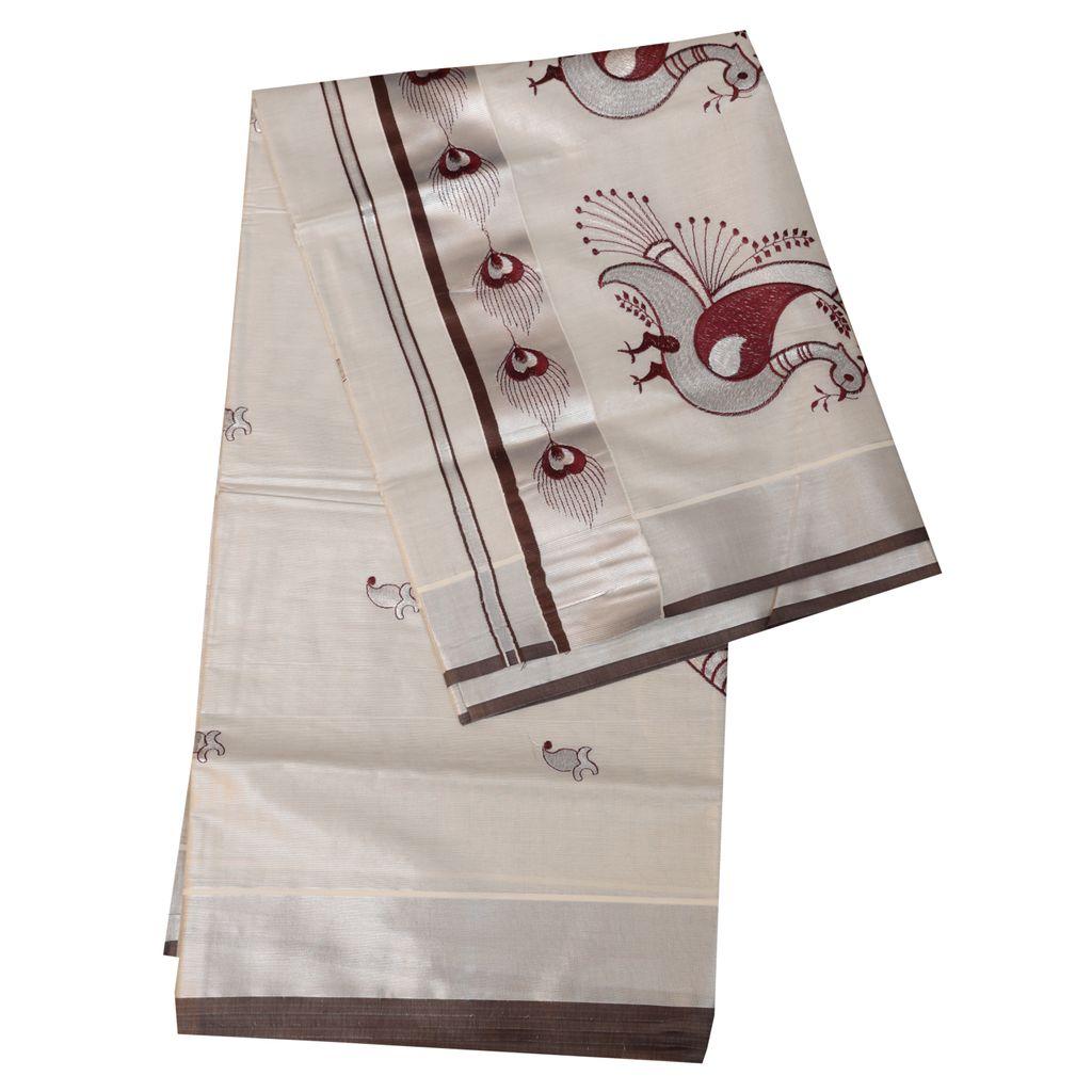 Silver Tissue Saree With Mayilpeeli Design