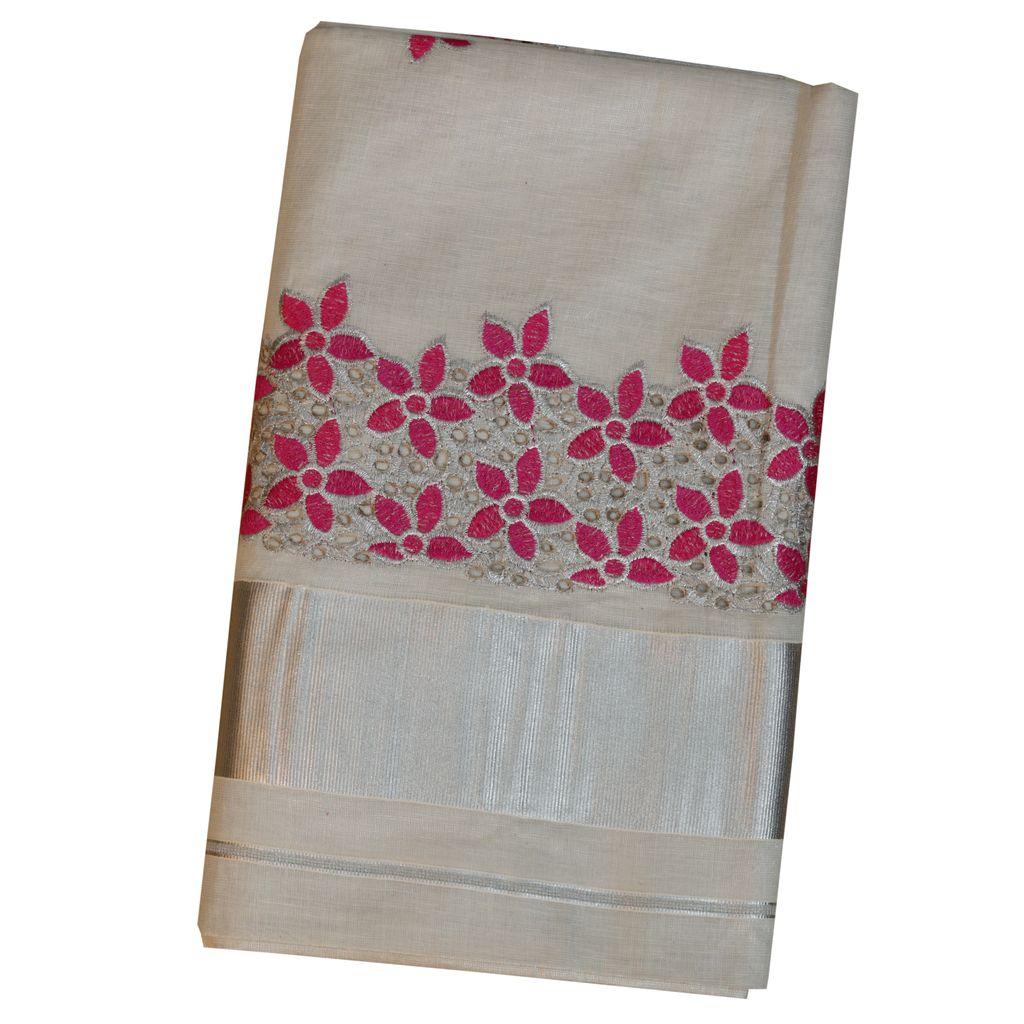 Silver Tissue Saree With Flower Design