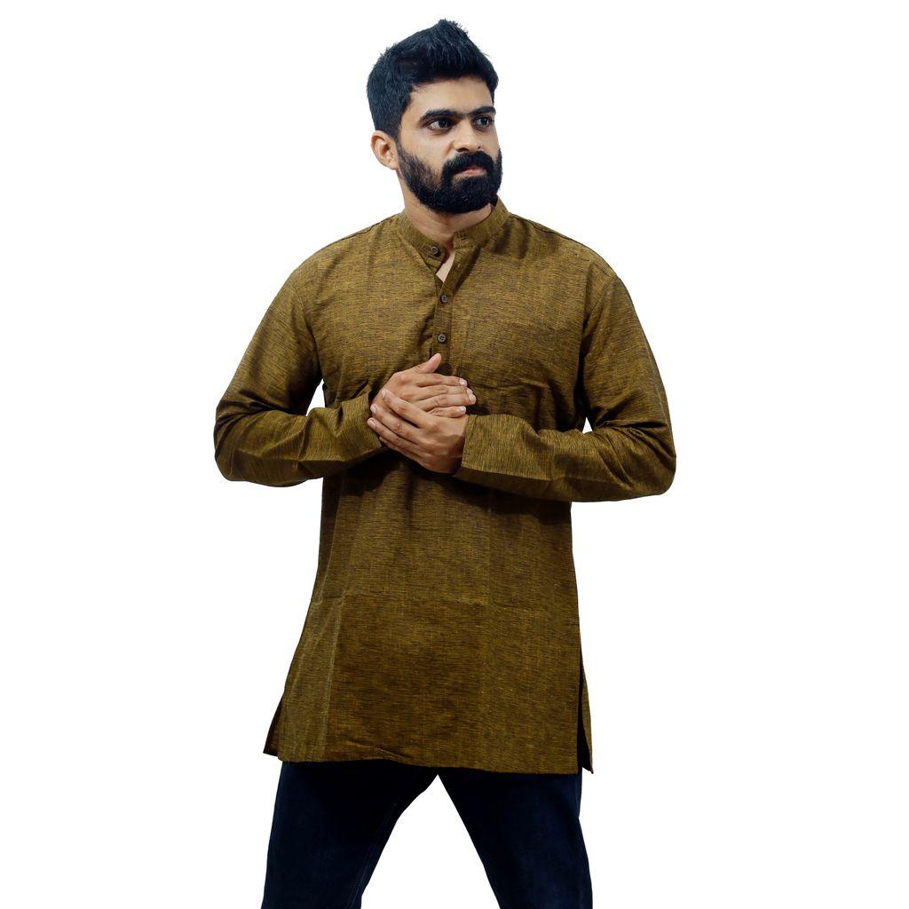 Men wooden grey color kurta