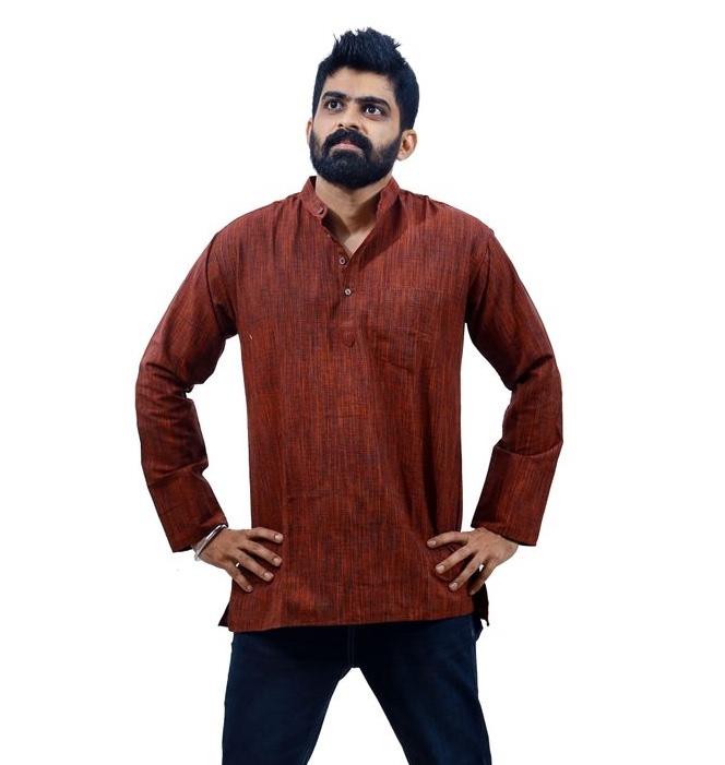 Men's Cotton Maroon Short kurta