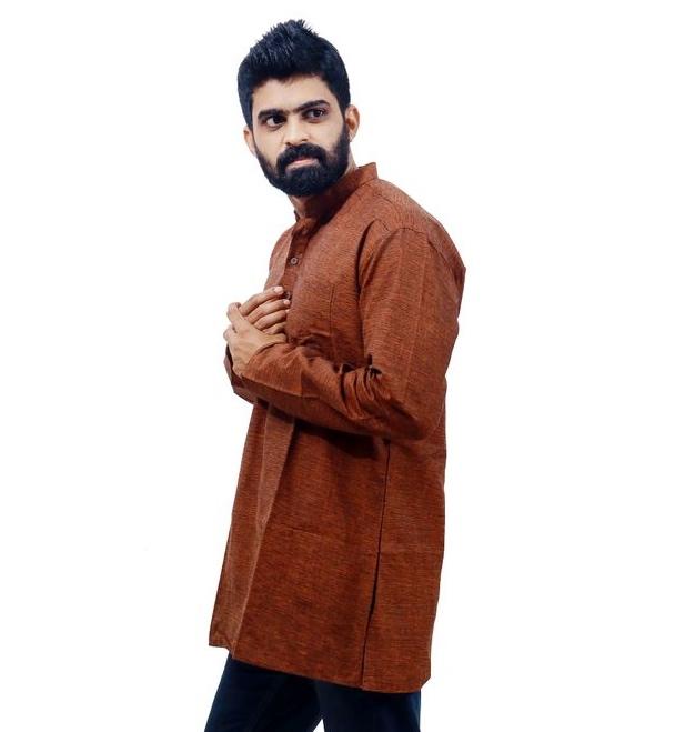 Men's brown Cotton kurta