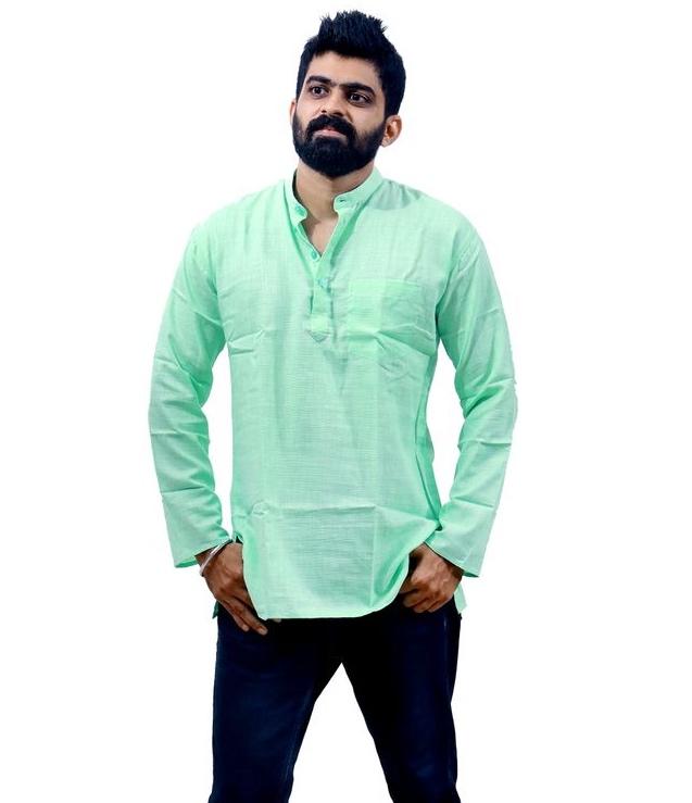 Men's Pista Green Cotton Color Kurta