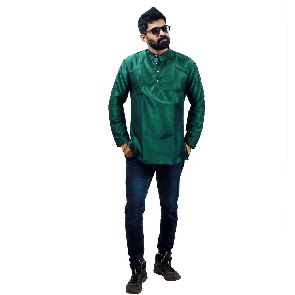Men Green Silk Kurta