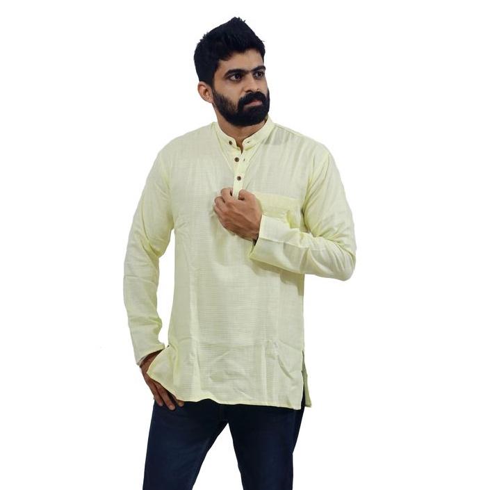 Men's Yellow Cotton Short Kurta
