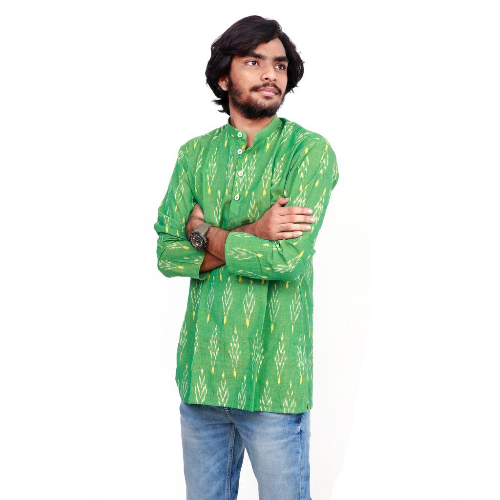 Men's Cotton Kurta with Ikat Print