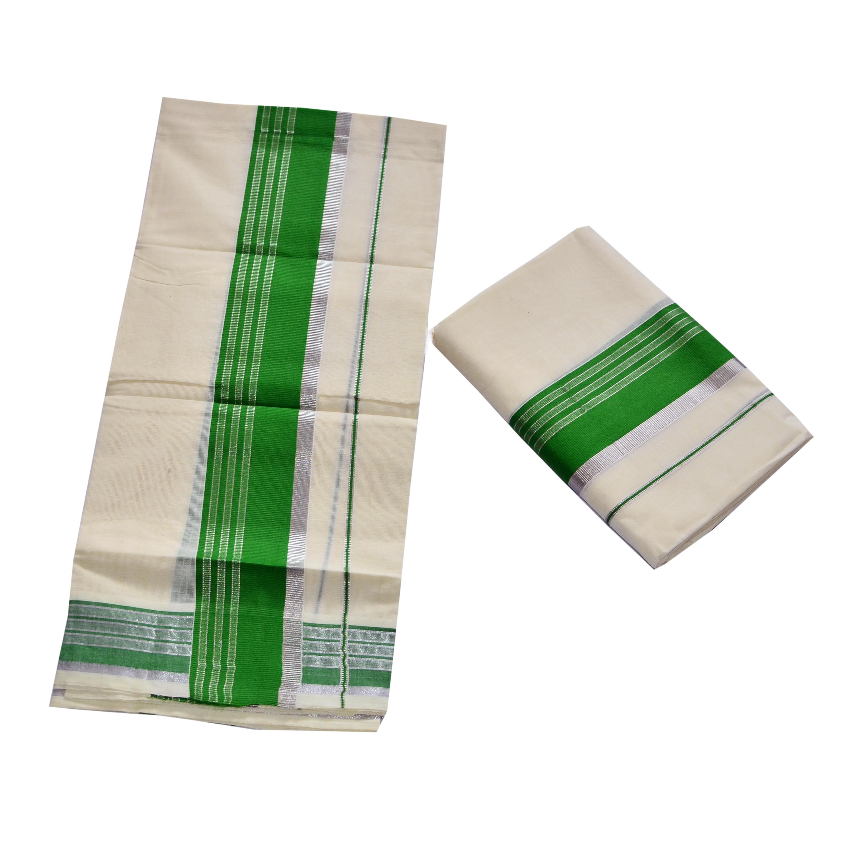 Cotton Set Mundu With Green And Half Inch Silver Kara
