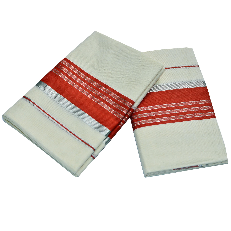 Cotton Set Mundu With Cinnabar Orange And Half Inch Silver Kara