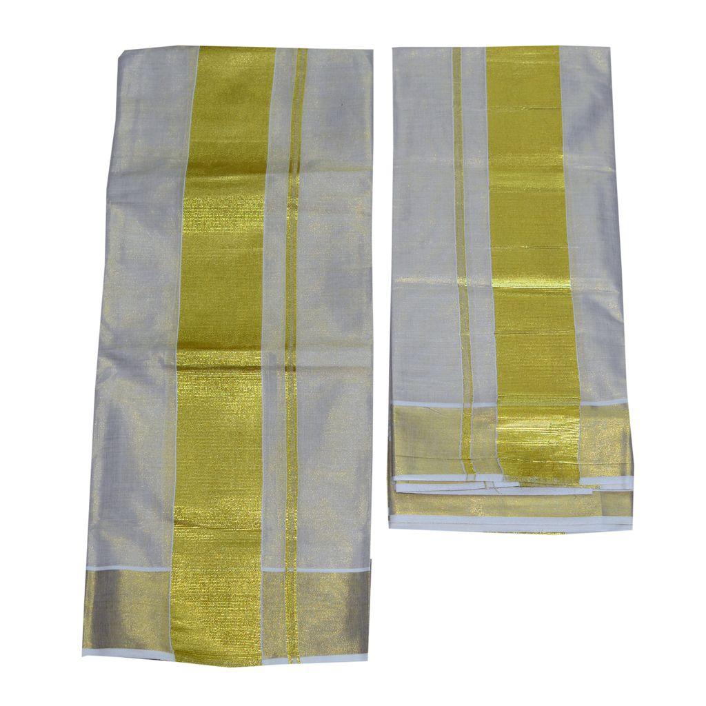 Tissue Set Mundu With Three Inch Kasavu Kara