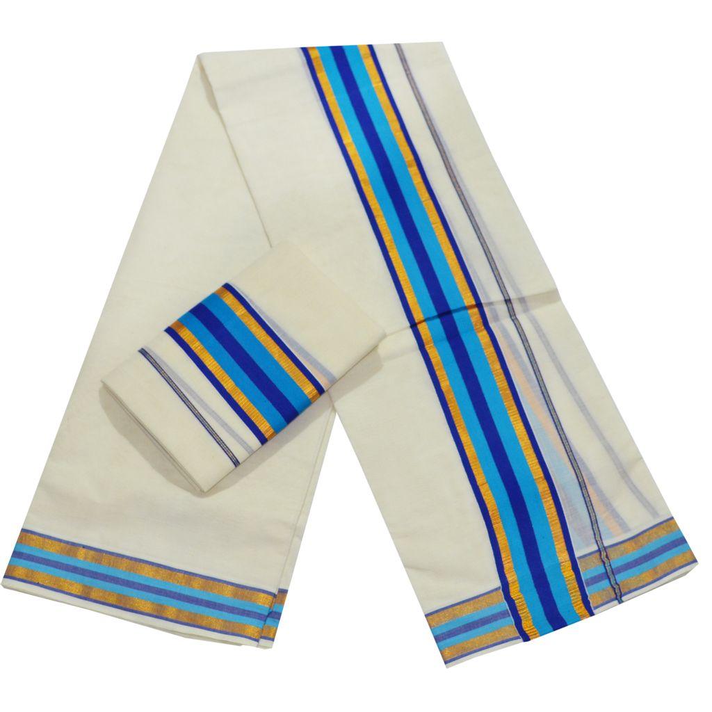 Cotton Set Mundu Blue Kara With Golden Lines