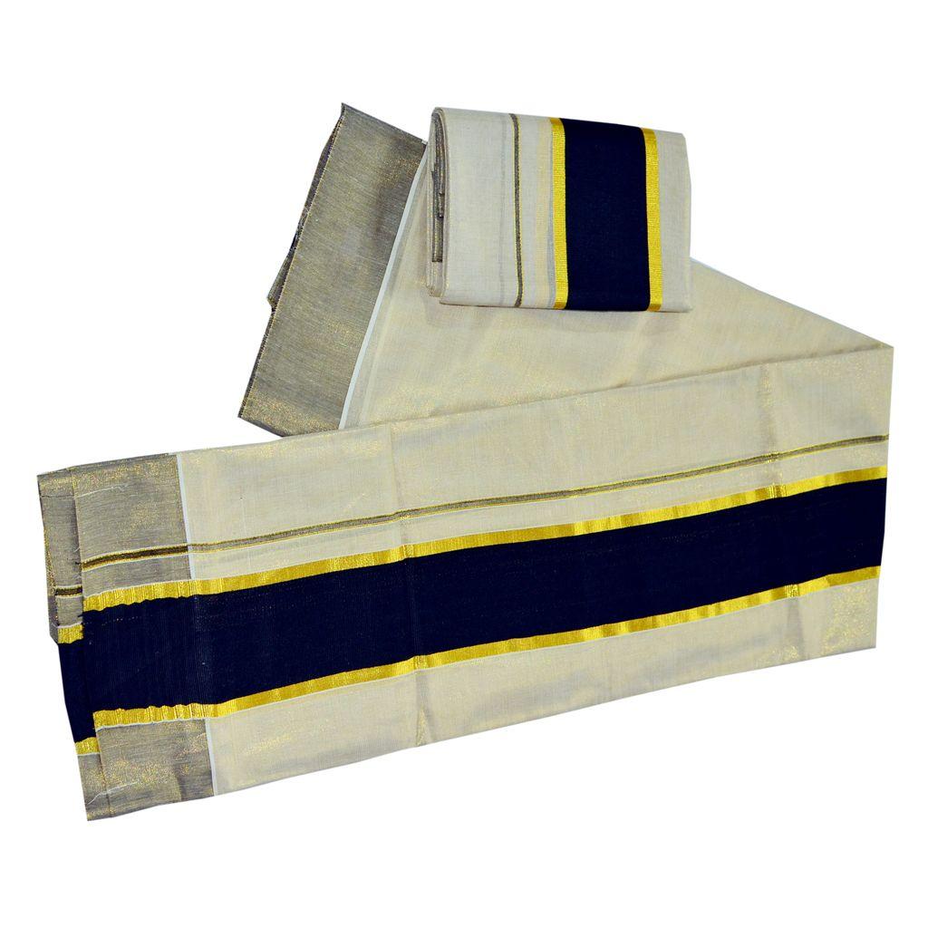 Tissue Set Mundu Black Kara With Golden Border