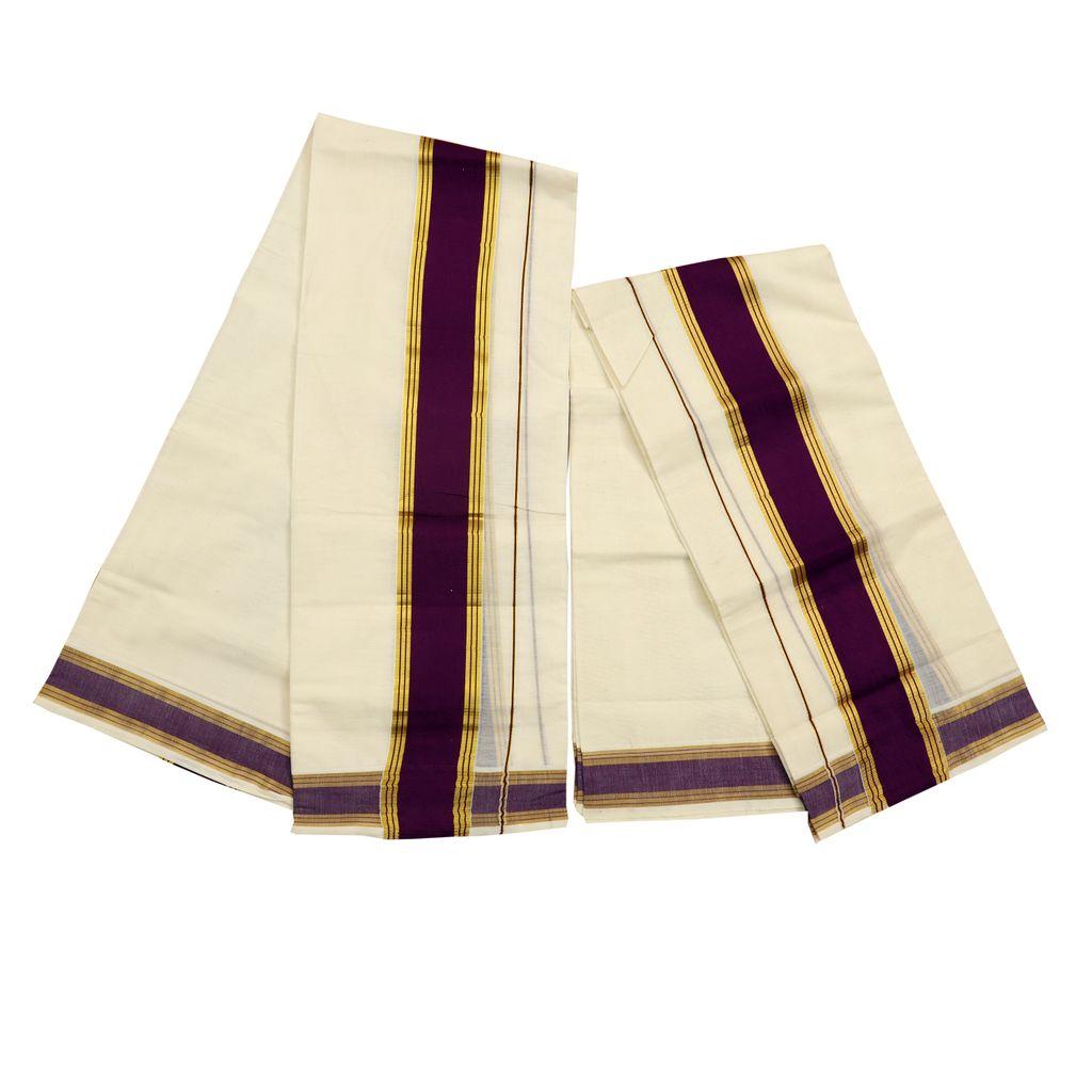 Cotton Set Mundu With Purple And Golden Kara