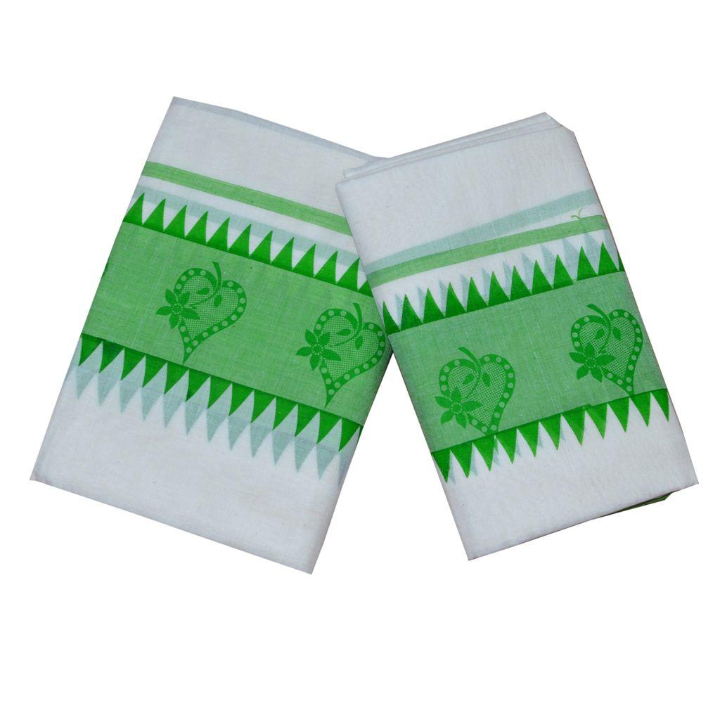 Cotton Setmund With Printed Green Kara