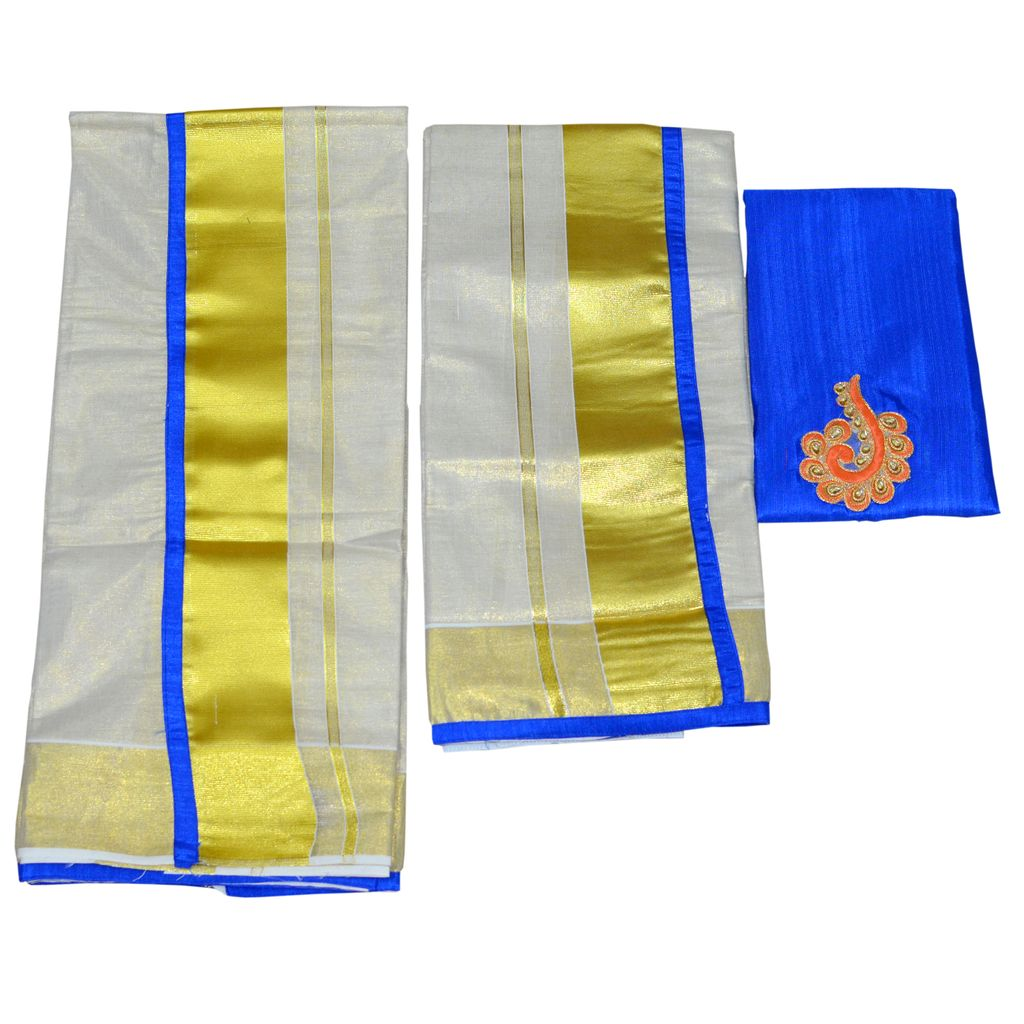 Ekatva Tissue Piping Set Mundu Blue With Patch Work Blouse