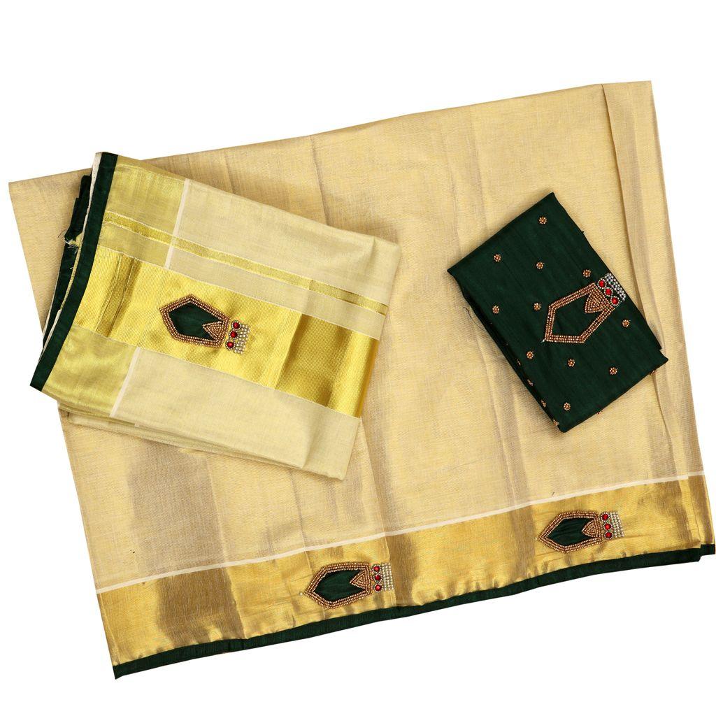 Beautiful Nagapada Tissue Set Mundu
