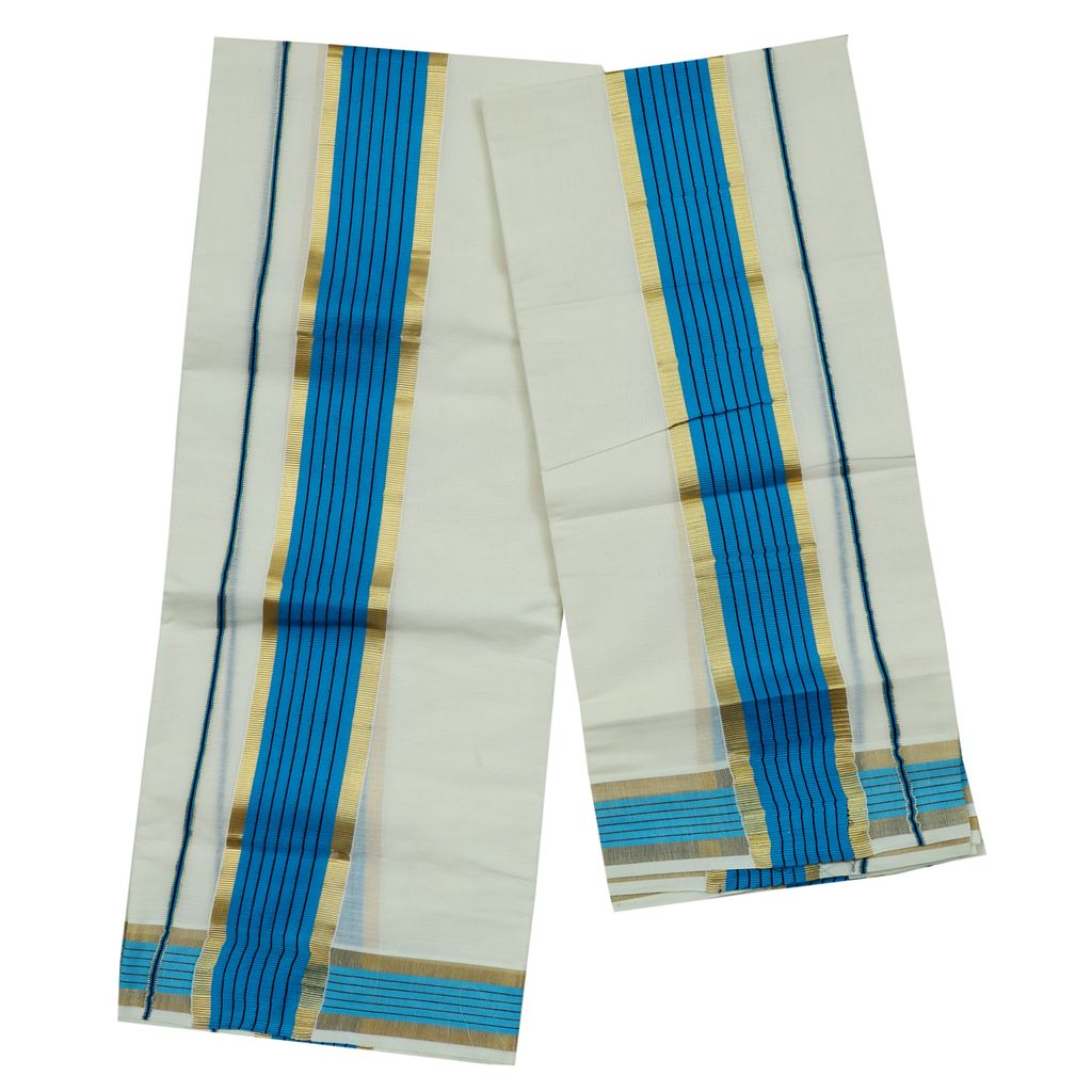 Cotton Blue Kara Set Mundu With Golden Border